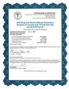 Thornton Aviation Services - FAA Drug-Alcohol Program Certificate